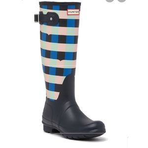 new HUNTER Original Gingham Blue Tall Rainboots